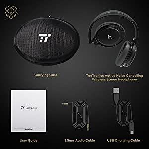 TaoTronics Active Noise Cancelling Bluetooth Headphones, Wireless Over Ear Headset, Foldable Earphones with Powerful Bass (Dual 40 mm Drivers, 25 Hour Playtime, cVc 6.0 Noise-Cancelling Built-In Mic)