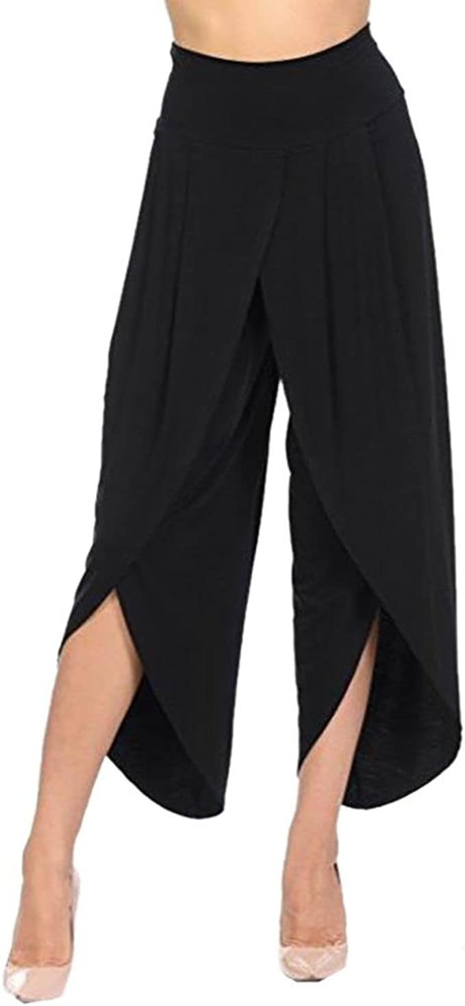 CICIYONER Pantalones en Capas para Mujeres Pantalones Anchos de Cintura Alta Piernas Anchas Flowy