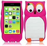 HELPYOU Hot Pink iPhone 5C New Cute 3D Cartoon Animal Owl Design Soft Silicone Rubber Skin Cover Case For Apple iPhone 5C