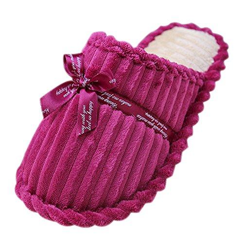 Chaussons Peluche Pantoufles Coton Chaussures Xfentech Hiver Chaud Hommes Femmes femmes Violet Confortable 0gqEIH