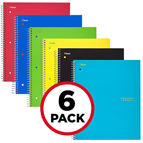 Five Star Spiral Notebooks, 1 Subject, Graph Ruled Paper, 100 Sheets, 11'' x 8-1/2'', Assorted Colors, 6 Pack (73549) by Five Star (Image #1)