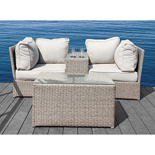 Cheap Living Source International Chelsea Collection Outdoor Furniture Patio Sofa Couch Garden, Backyard, Porch or Pool All-Weather Wicker with Thick Cushions (4 Pc Cup Table Set)