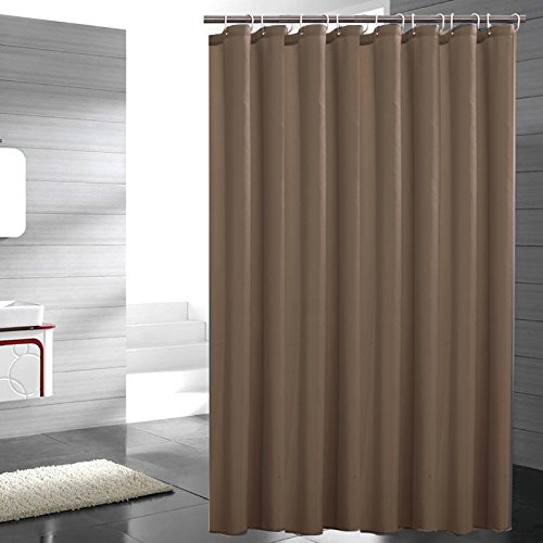 lent Fabric Shower Curtain Polyester Standalone Easy Clean Mildew Resistant Shower Curtain Extra Long Durable and Soft, Reinforced Grommets and Hooks, Tan, 72 x 84 inches ()