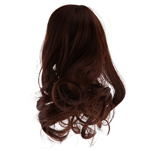 MonkeyJack Coffee Long Wave Curly Hair Wig Hairpiece for 1/6 BJD Super Dollfie SD DD