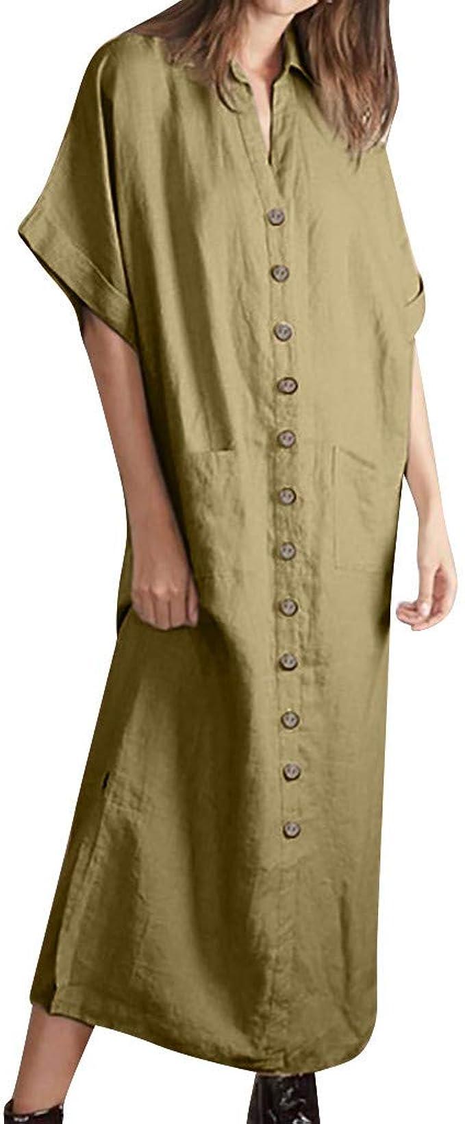 Vestidos de Mujer Casual Cortos, LEvifun Vestidos de Verano Mujer 2019 Vestido de Playa Vestido de Algodón Lino botón Faldas Cortas Vestido de Bolsillo Vestido Color ...