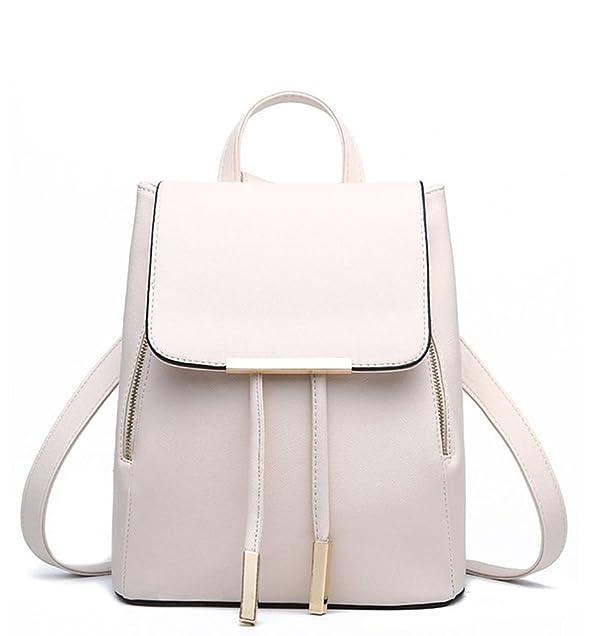 WINK KANGAROO Women's Fashion Shoulder Bag Rucksack PU Leather Backpack Travel Bag, Beige, Medium (Color: Beige, Tamaño: Medium)