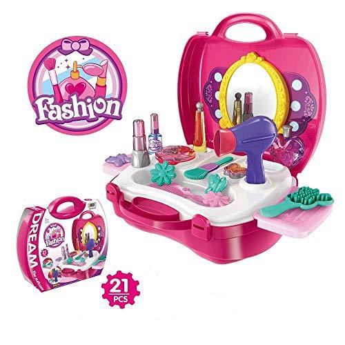 ELECTRECA Kids Beauty Set for Girls Kids Makeup Toy Suitcase Pretend Play Beauty Makeup & Hair Dressing Kit for Girls…