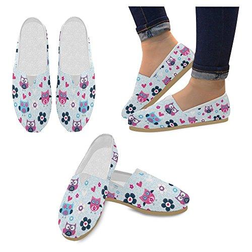InterestPrint Frauen Loafers Klassische beiläufige Segeltuch-Beleg-auf Art- und Weise beschuht Turnschuhe-Ebenen Süße Eule