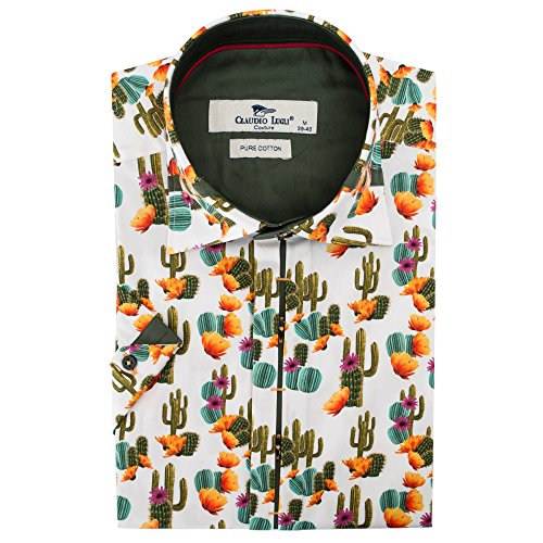 Claudio Lugli Men's Cactus Print Fashion Luxury Cotton Short Sleeve Summer Casual Shirt CP6407 2xlarge Multi by Claudio Lugli (Image #3)