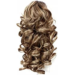 """Onedor 12"""" Synthetic Fiber Natural Textured Curly Ponytail Clip In/On Hair Extension Hairpiece (H16/613)"""