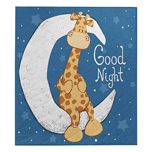 Giraffe Sitting (InterestPrint Cute Giraffe Sitting on The Moon Funny Soft Premium Fabric Quilt Bedding Twin Size 80