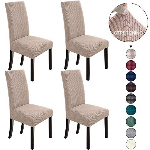 NORTHERN BROTHERS Dining Room Chair Slipcovers Dining Chair Covers Parsons Chair Slipcover Stretch Chair Covers for Dining Room Set of 4,Khaki