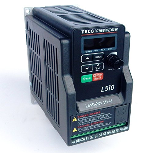 - Teco Variable Frequency Drive, 1 HP, 230 Volts 1 Phase Input, 230 Volts 3 Phase Output, L510-201-H1-N, VFD Inverter for AC motor control