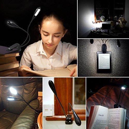 [해외]Amir 8 LED Book Light, 부활절 용 음악 스탠드 라이트 램프, 충전식 및 플렉시블, 듀얼 헤드, 일광 화이트, 여행 조명, 클립 라이트, N에서 읽기/Amir 8 LED Book Light, Music stand light lamp for Easter, Rechargeable and Flexible, Dual Head...