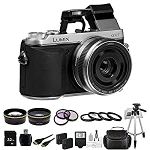 Panasonic LUMIX GX7 16.0 MP DSLM Camera with LUMIX G 20mm F1.7 II ASPH Lens and Tilt-Live Viewfinder (SILVER) + 32GB Bundle 21PC Accessory Kit. Includes Wide Angle & Telephoto Lenses + 3 Piece Filter (UV-CPL-FLD) + 4 Piece Macro Filter Set (+1,+2,+4,+10) + More