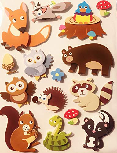 - Whimsical 3-Dimensional Forest Animals Stickers Appliques Set of 15