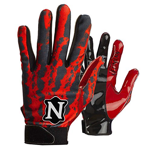 Neumann Rage Wide Receivers Gloves by Adams - Scarlet Red - Adult-sized XL