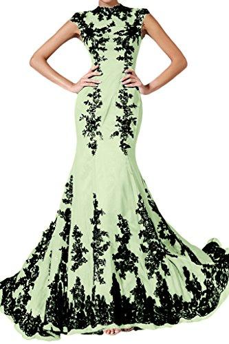 Ivydressing Damen Elegant Festkleid Chiffon Spitze Sage Mermaid Lang Abendkleid Applikation qpqwxBgrST