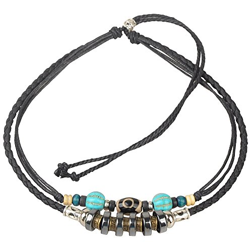 Ancient Tribe Adjustable Hemp Leather Beads Necklace,Black -