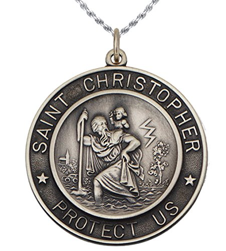1 1/4in Round 0.925 Sterling Silver St Saint Christopher Medal Pendant 2.3mm Rope Necklace, 24'' by US Jewels And Gems