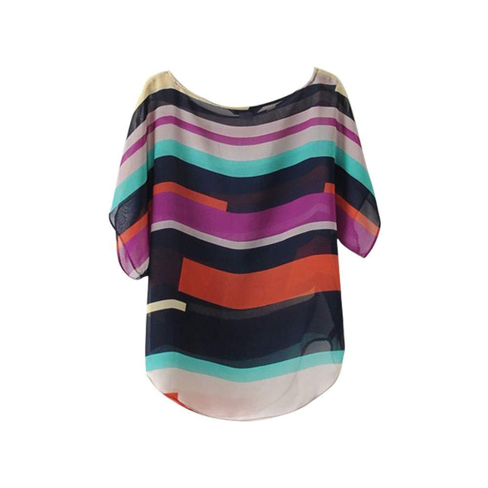 Nevera Women Summer Perspective Casual Loose Chiffon Tops Short Sleeve Blouses T-Shirt