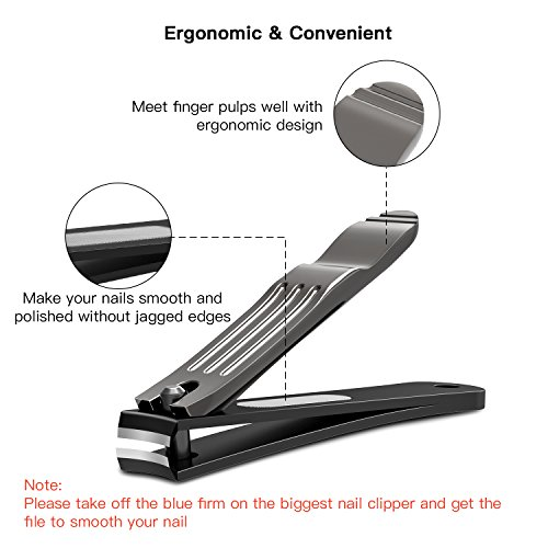 BESTOPE Nail Clippers Set, 3PCS Black Fingernail & Toenail & Slant Edge Nail Cutter Trimmer Set with Metal Case, Stainless Steel, Good Gift for Women & Men