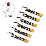 6pcs 300mah 1S HV 3.8V Lipo Battery 30C JST-PH 2.0