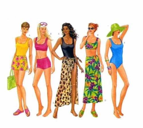 (Butterick Swimsuit & Cover up Sewing Patten #5551 Sizes: 12, 14 & 16)