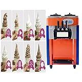 Commercial 3 Flavor and Twist Soft Serve Ice Cream / Frozen Yogurt / Gelato / Sorbet Machine| Soft Ice Cream Cones Maker 2100W,110V