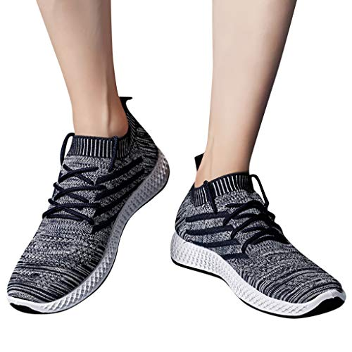 Emimarol Men Sports Shoes Mesh Breathable Casual Sneakers Students Running Shoes Black
