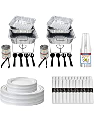 Party Essentials Party Serving Kit - Chafing Kits with Serving Utensils, Refill Kit, Food Warming Heated Fuel Cans, Buffet Warmer