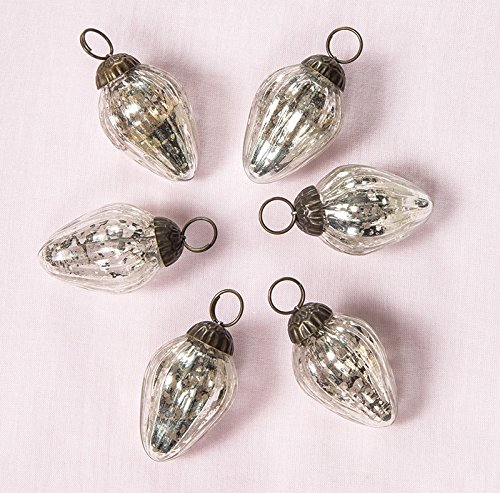 Luna Bazaar Mini Mercury Glass Ornaments (Laura Design, 1-Inch, Silver, Set of 6) - Vintage-Style Decorations ()