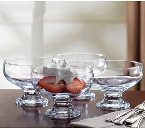 Home Essentials 4 Piece Set Essentials Home Footed Glass Dessert Dishes Bowls, Clear Home Essentials & Beyond 3389