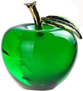H&D Glaze Crystal Apple Paperweight Craft Decoration (green)