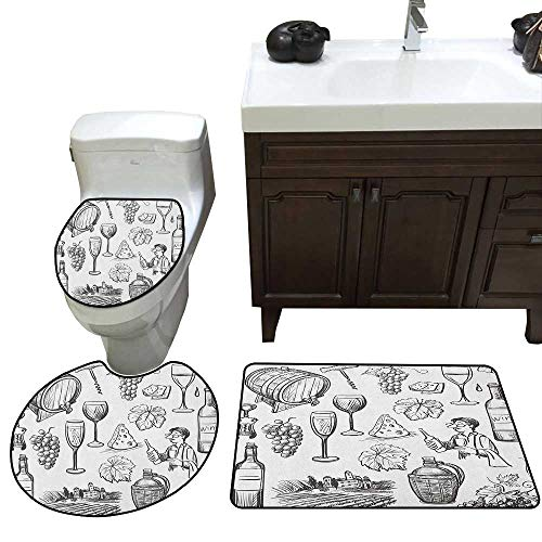 (Moeeze-Home Wine Lid Toilet Cover Bath Mat Hand Drawn Wine Set in Sketch Style Vintage Gourmet Country Themed Artwork Bathroom Floor Mat Sets Charcoal Grey White)