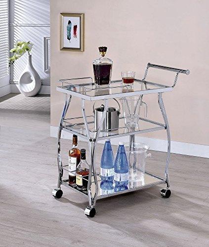 Cedar Park Chrome Glass/Metal Serving Cart by Furniture of America