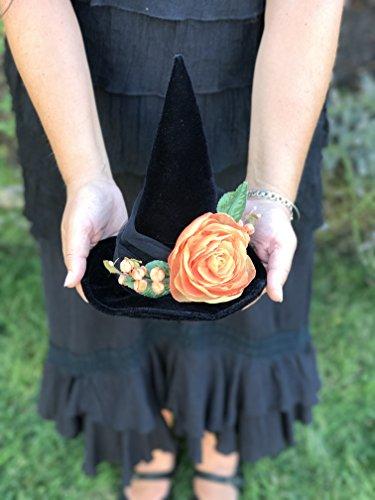 Pagan Priestess Costume - Halloween Rose Mini Witch Hat, Top Hat, Costume Fascinator
