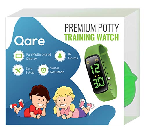 Premium Potty Training Watch - 16 Alarms - Only Watch with Kids Lock - Water Resistant - Video Manual - Touchscreen - Worry Free! - Fun Alarm Music - Colorful Display (Green)