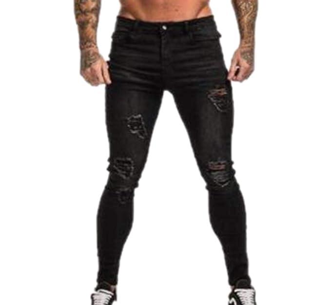 Keephen Pantalones Vaqueros de los Hombres, Slim Fit Roses ...