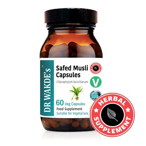DR WAKDE'S® Safed Musli Capsules (Chlorophytum borivilianum) I 100% Herbal I 60 Veggie Capsules I Ayurvedic Supplement I FREE SHIPPING on multiples I Quantity Discounts I Same Day Dispatch by DR WAKDE'S® Natural Health Care, London