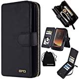Samsung Galaxy S8 Plus Case, Premium Leather Wallet Type Carrying Case Purse Clutch Cover Magnetic Detachable Folio Flip Holster with Hand Strap&Card Slots for Samsung Galaxy S8 Plus -(Black)