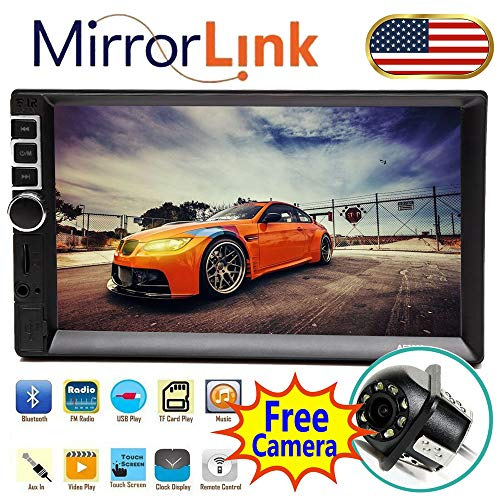 for Nissan 350Z Lexus IS300 Mini Cooper 2002-2009 Double Din Stereo 7inch Touchscreen MP3 Vedio 1080P Player Support Mirror Link Rear Camera Bluetooth FM AM Aux-in USB SD Card Rolling Light