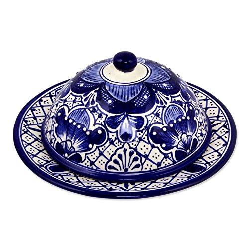 NOVICA TWE0225 Blue Guanajuato' Ceramic Covered Cheese - Ceramic Novica Plate