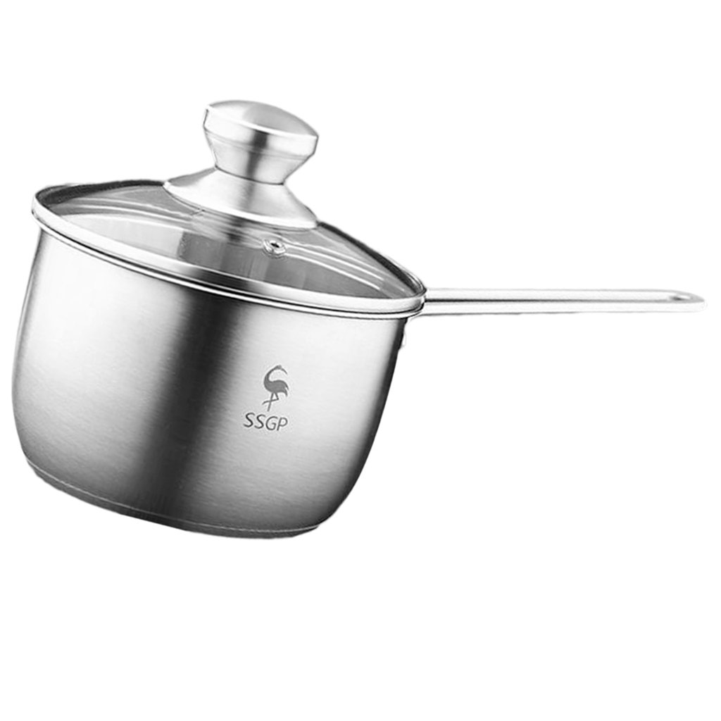Fityle Stainless Steel Cookware Saucepan Pan Pot Kitchen Milk Food Cooking Tool - with Lid
