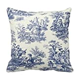Blue Vintage Toile Home Decorative Throw Pillow Cover Cushion Case 18 X 18 Inch Pillowcase