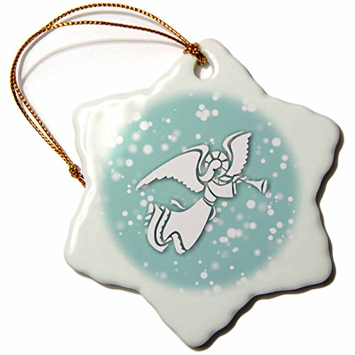 on White Christmas Designs - White Christmas Design- Blue and White Angel with Trumpet - 3 inch Snowflake Porcelain Ornament (ORN_251857_1) ()