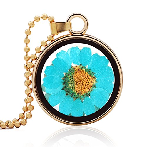 [MORE FUN Charm Pressed Flower Circular Glass Pendant Beads Chain Necklace (Blue)] (Vintage Costume Jewelry Lot)