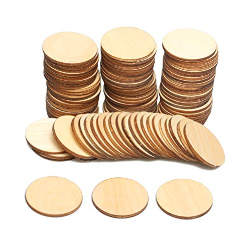 2-Inch Wooden Discs 100pcs Unfinished Round Wooden Circles Blank Wood Cutout Slices Discs DIY Crafts