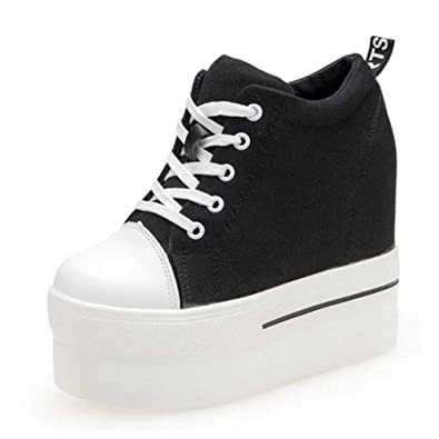 Canvas Shoes Women Casual Sneakers Elevator Platform Shoes Female High Top Hidden Wedge Heels Ankle Boots