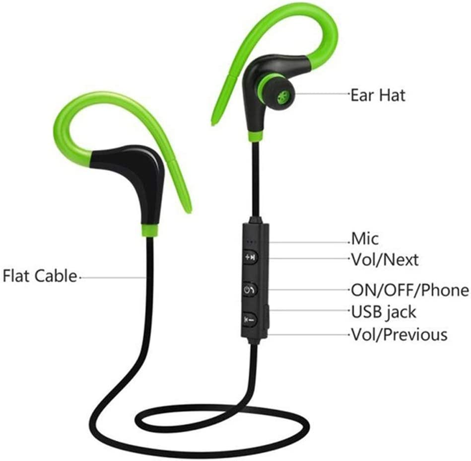 Dfgerten Cuffie Bluetooth Big Horn Sports Hanging Ear Running 4.1 Cuffie Senza Fili Neutre Cuffie da Corsa Impermeabili con Microfono Integra Color : Blue, Size : One Size